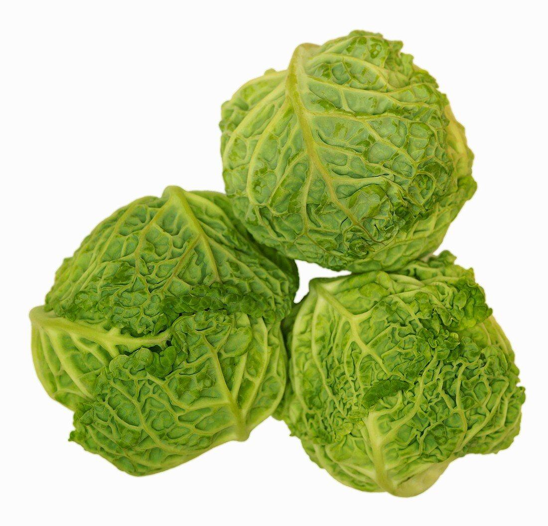 Three baby savoy cabbages