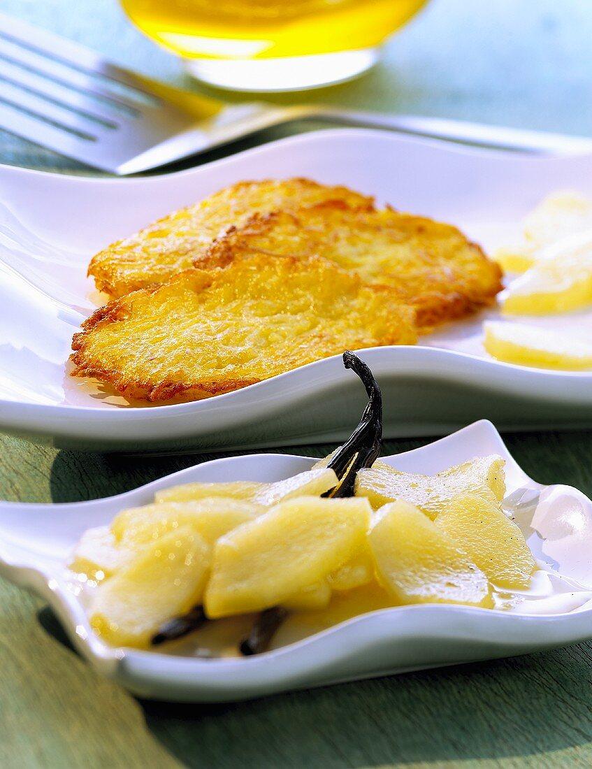 Potato rosti with apple compote