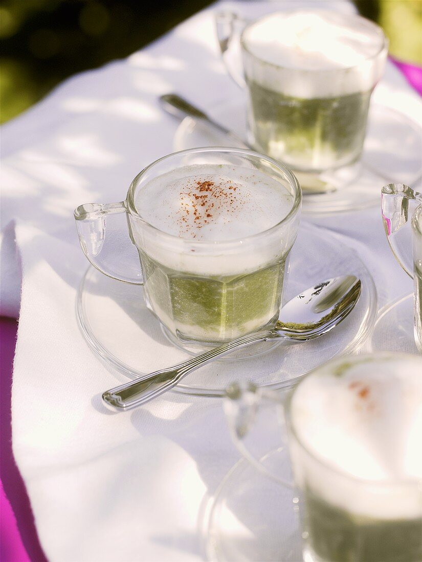 Cappuccino de romaine (Lettuce soup with milk froth)