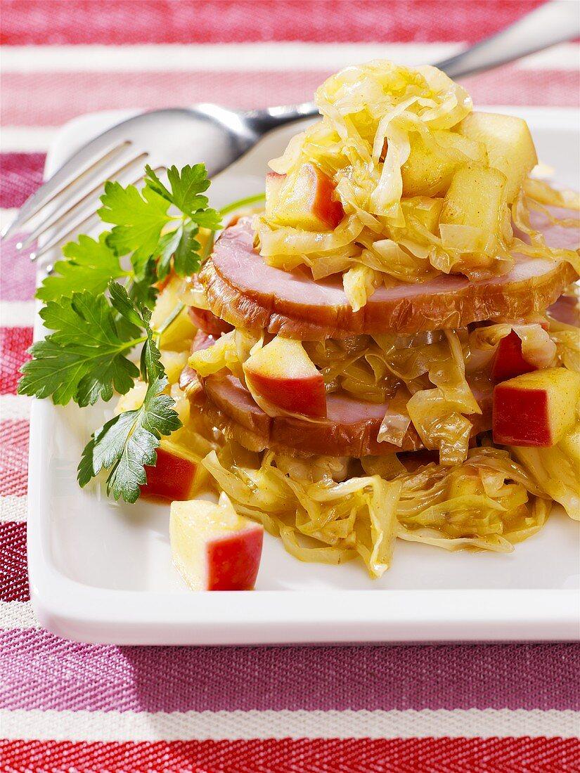 Kassler (smoked, cured pork loin) with apple & sauerkraut