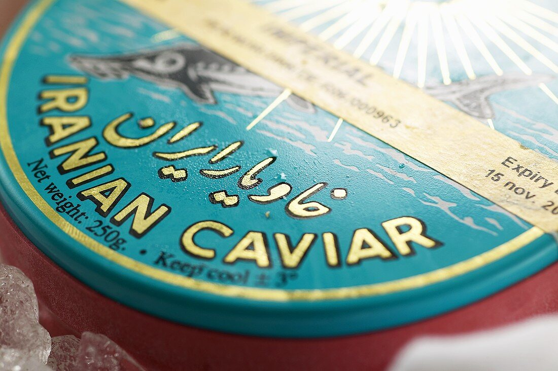 A tin of Ossetra caviar from Iran