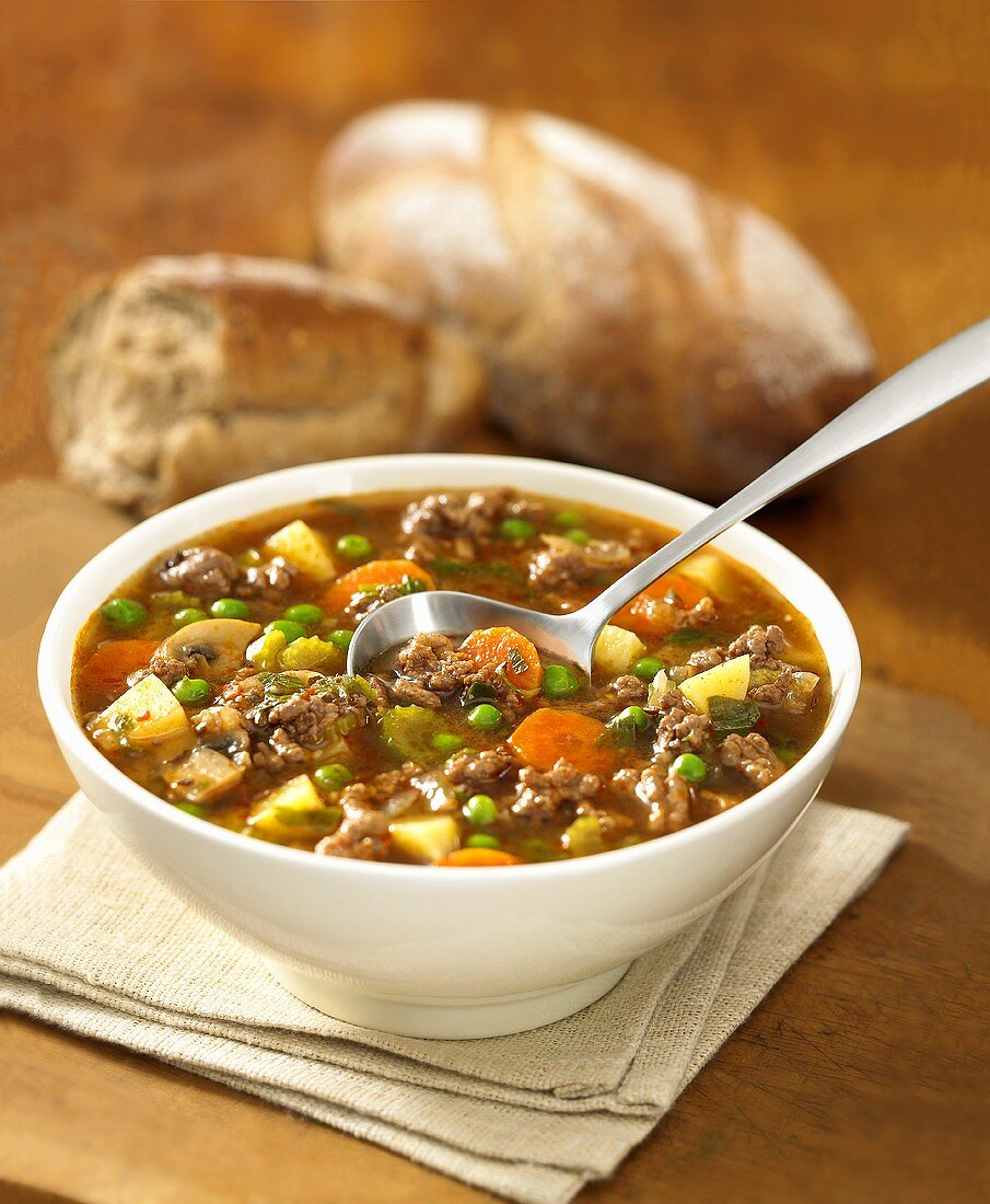 Hungarian goulash soup with bread