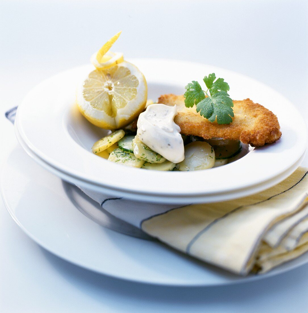 Breaded redfish fillet with potato salad