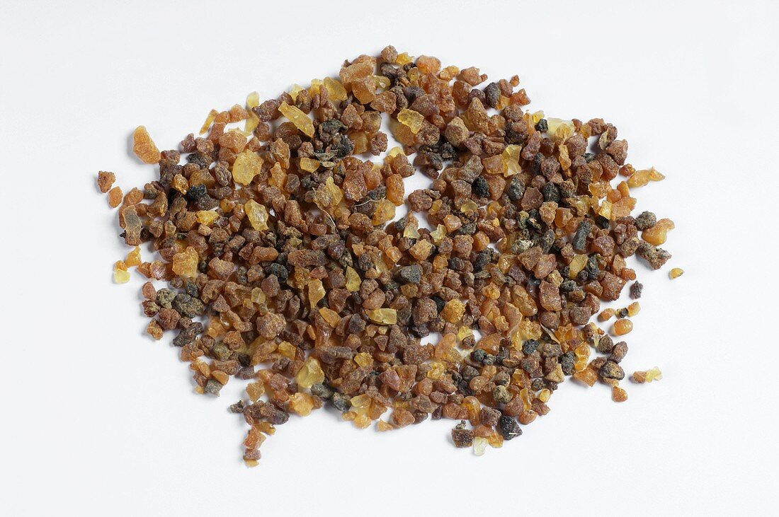 A heap of myrrh (resin from trees of the genus Commiphora)