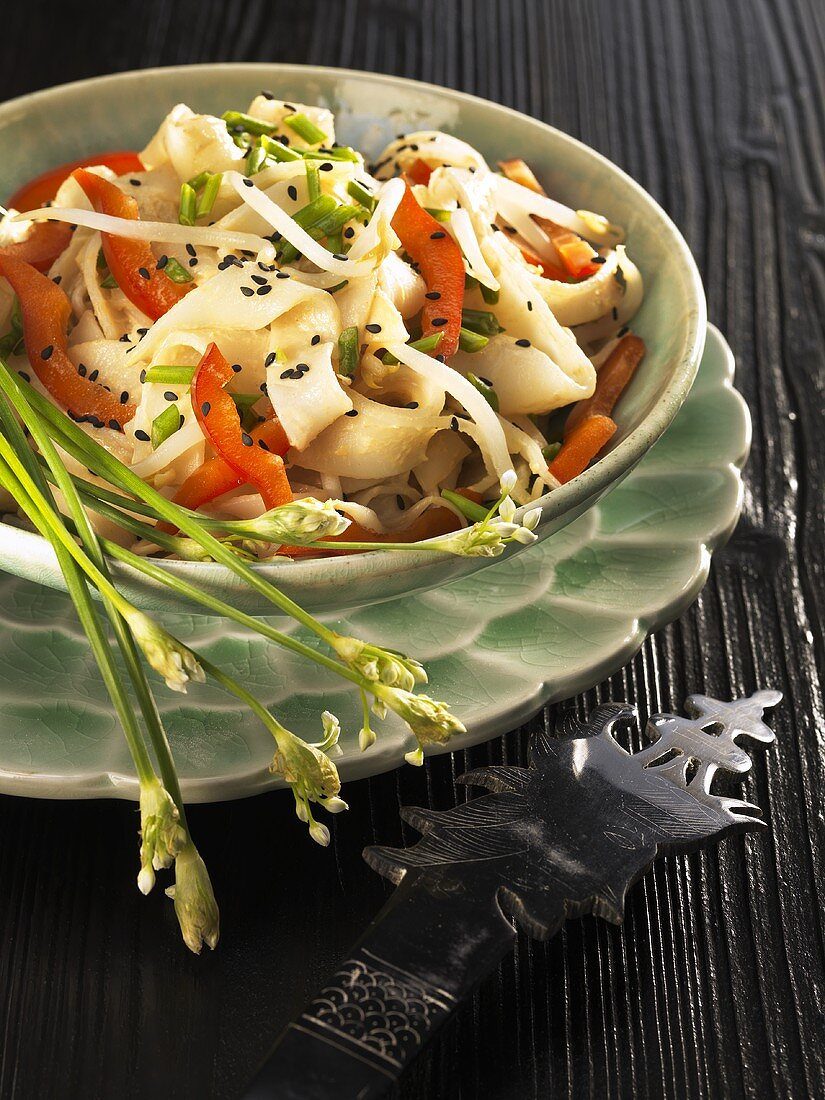 Rice noodles with peppers and mung bean sprouts