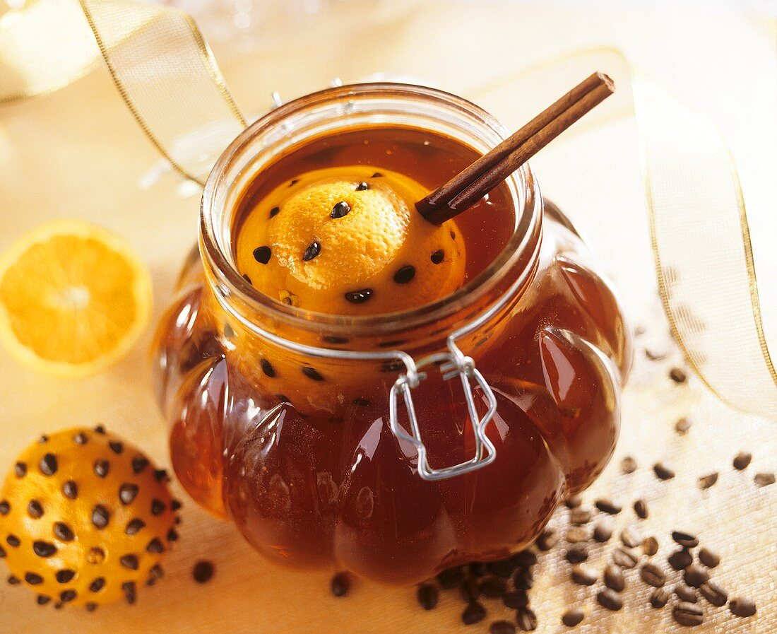 Orange coffee liqueur in a jar