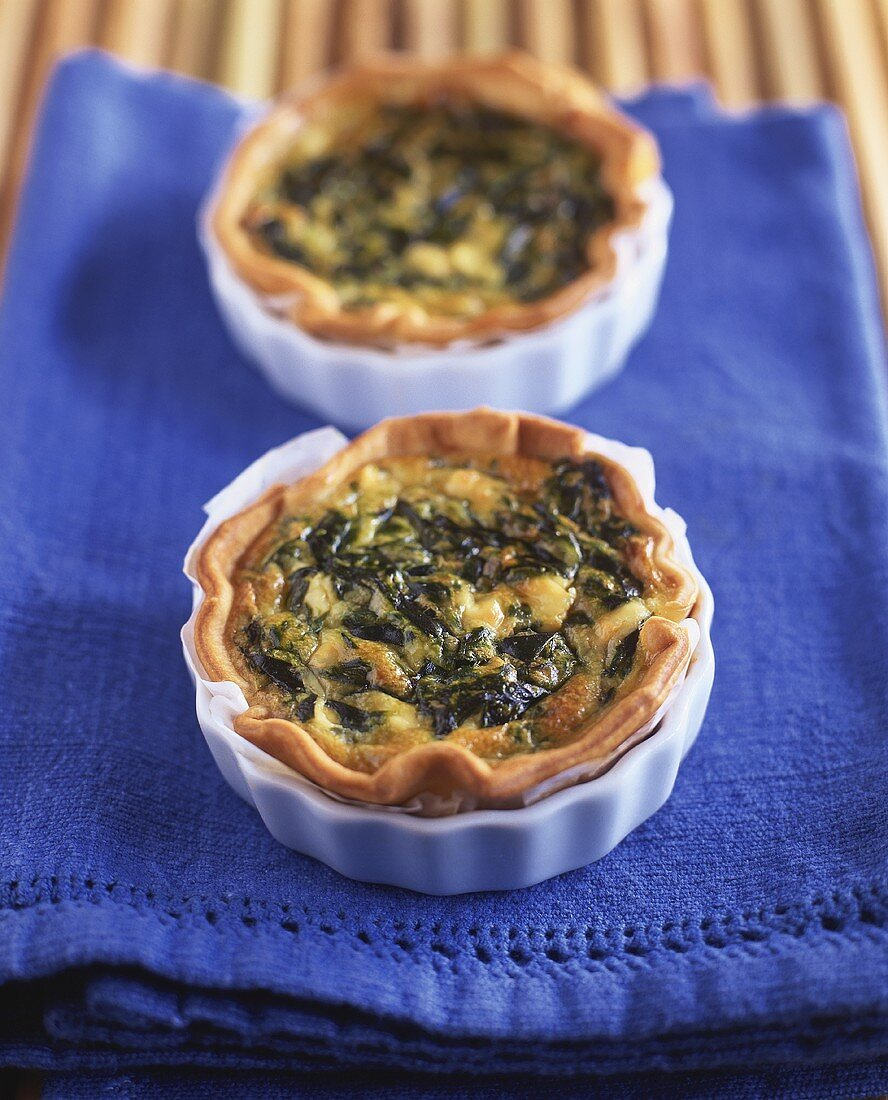 Small spinach and cheese quiches