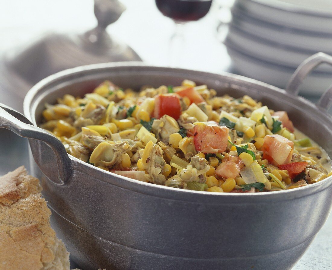 Clam and sweetcorn stew