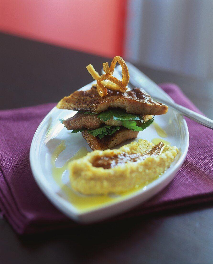 Fried pork with polenta