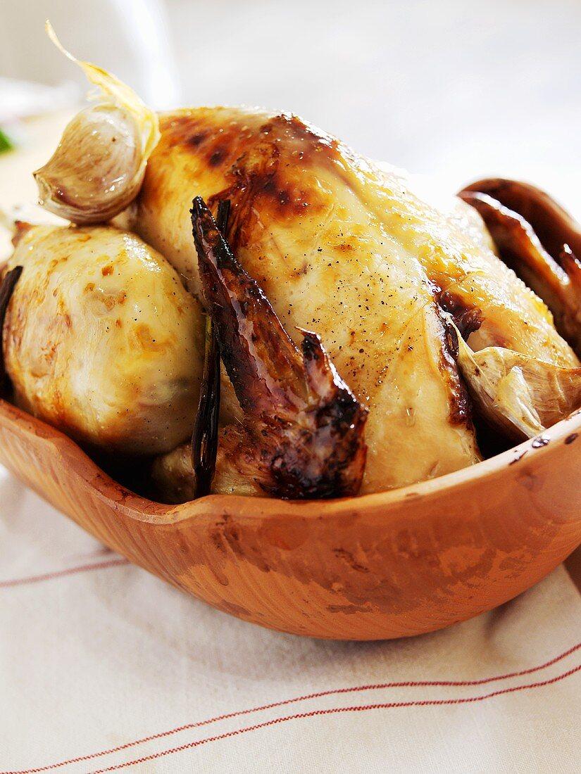 Orange chicken cooked in Römertopf