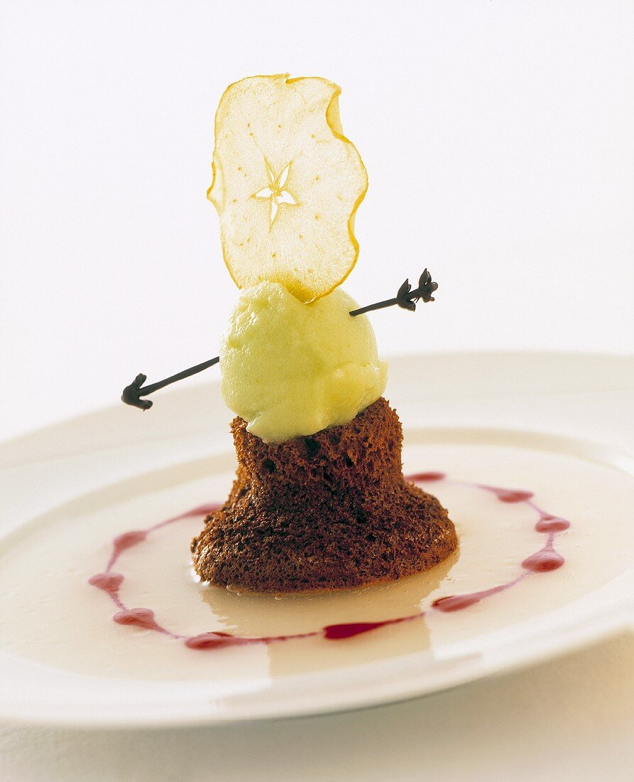 'William Tell' (Chocolate pudding with apple sorbet)