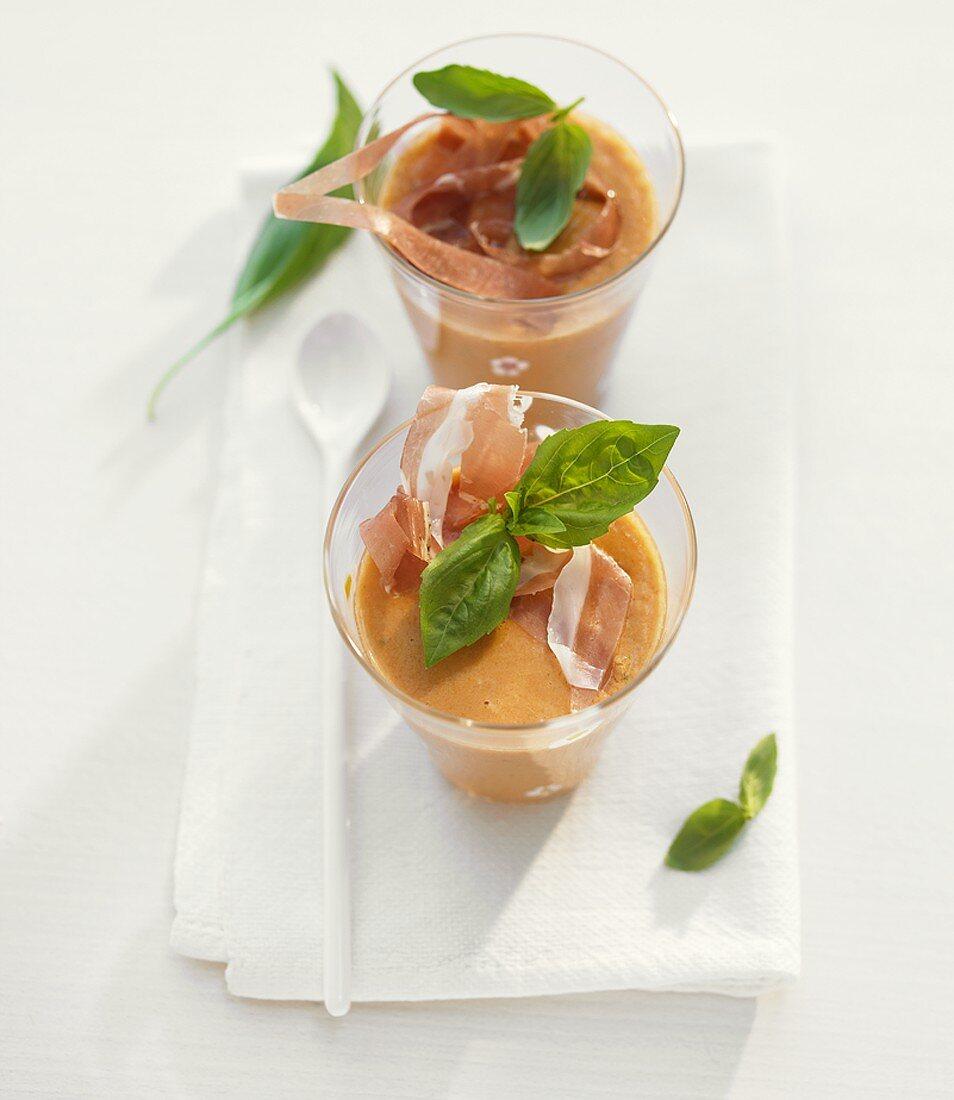 Cold orange and tomato soup
