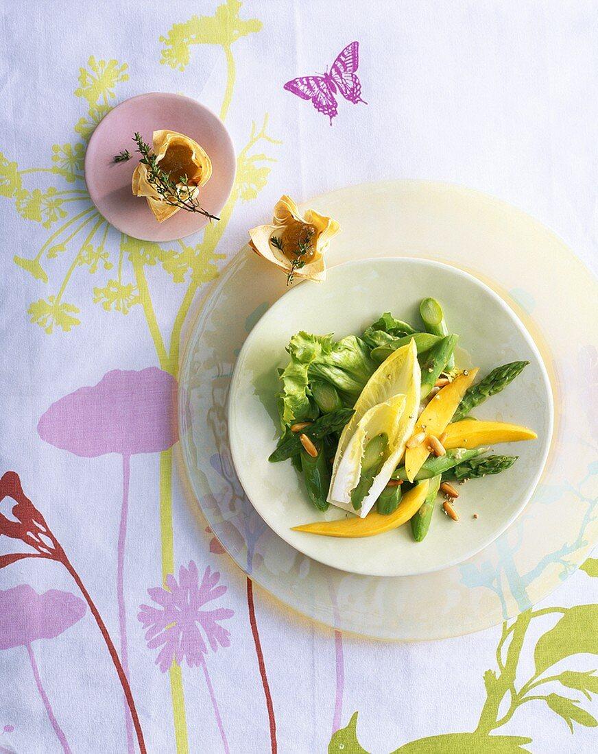 Green asparagus and mango salad