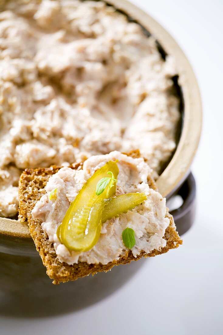 Pork dripping and gherkin on wholemeal bread