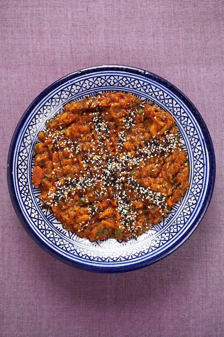 Zahluk (Aubergine and tomato spread, N. Africa)