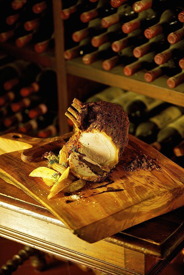 Arista con la crosta (saddle of roasted pork with a herb crust, Italy)