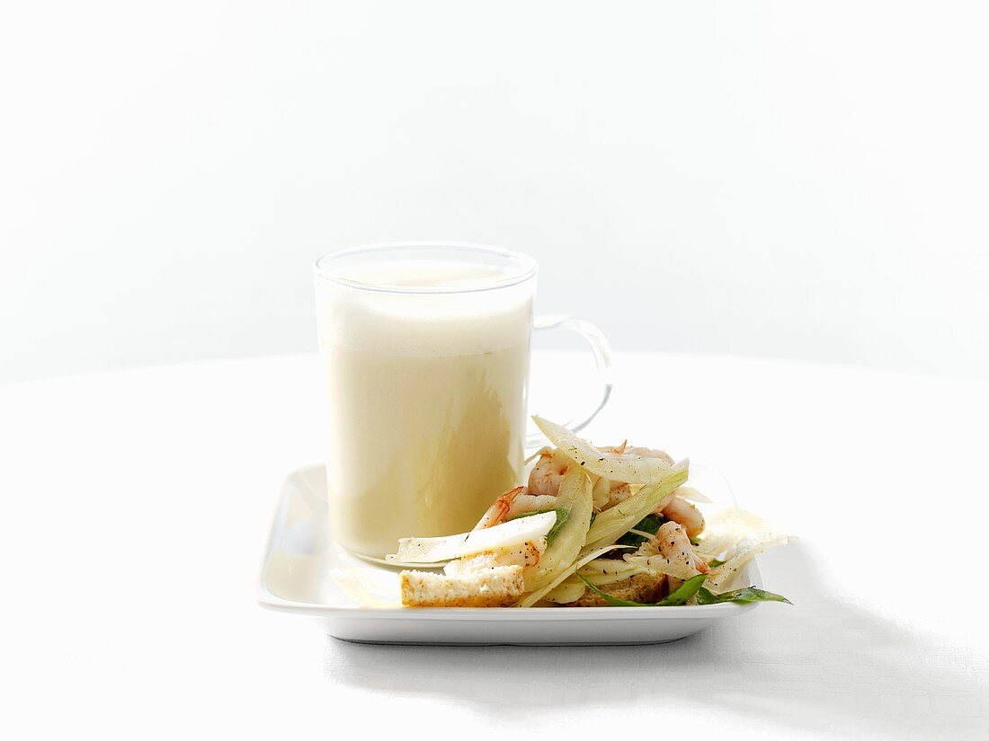 Potato and fennel soup with shrimp salad