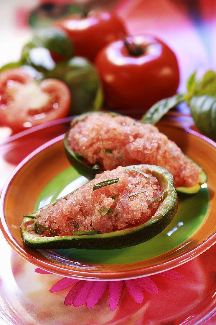 Tomato sorbet served in avocado shells