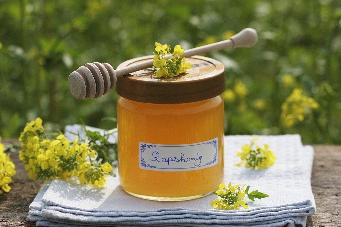 A jar of oilseed rape honey