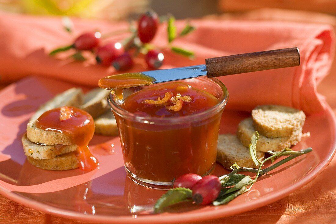 Rose hip jam in small jar