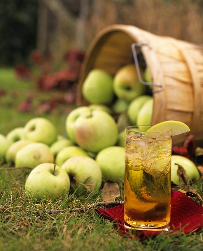 Apple juice and apples on grass
