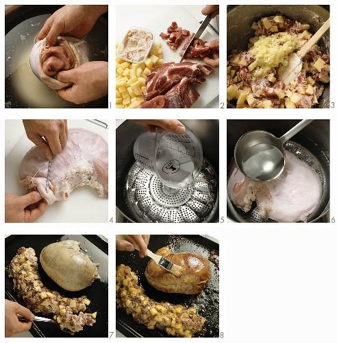Preparing Saumagen (stuffed pig's stomach)