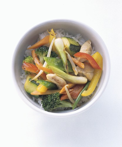 Chicken and Vegetable Stir Fry Over Rice