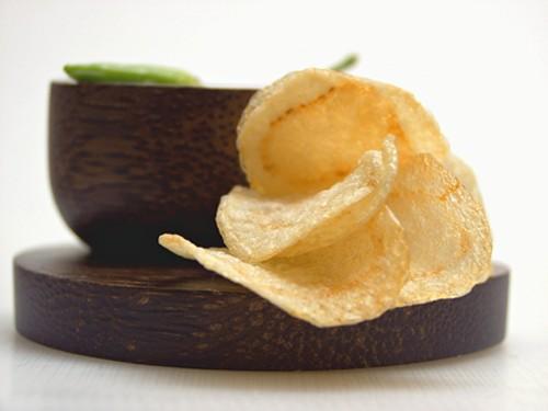 Potato Chips on a Wood Dish