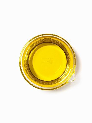 Container of Oil; From Above; White Background