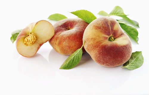 Vineyard peach with leaves