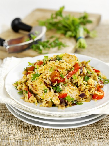 Jambalaya (rice stew with chicken and vegetables)