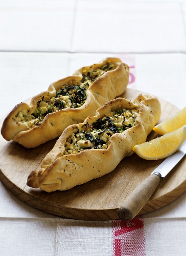 Pide with spinach and cheese (pastry boats, Turkey)