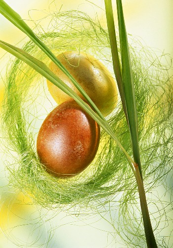 Two Easter eggs with decoration