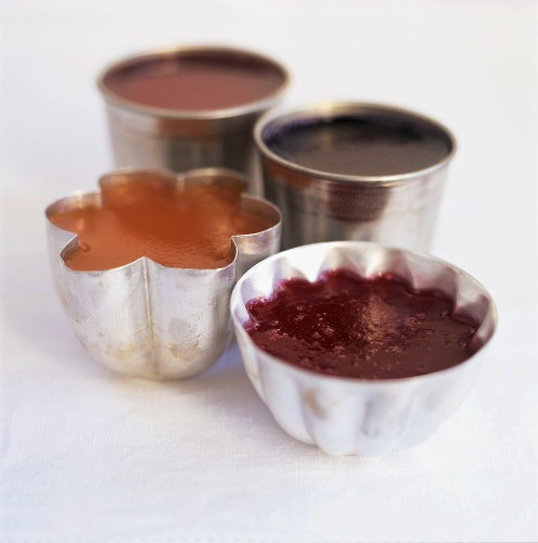 Fruit jellies in small dessert dishes