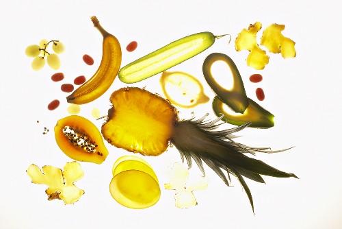 Slices of fruit, backlit