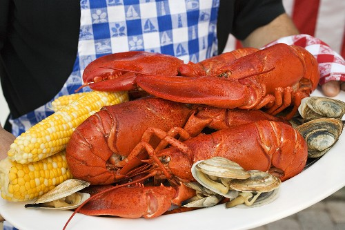 Lobster, clams and sweetcorn