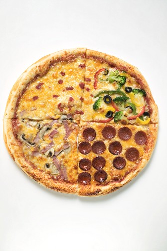 US-style ham, pepperoni and vegetable pizza in quarters