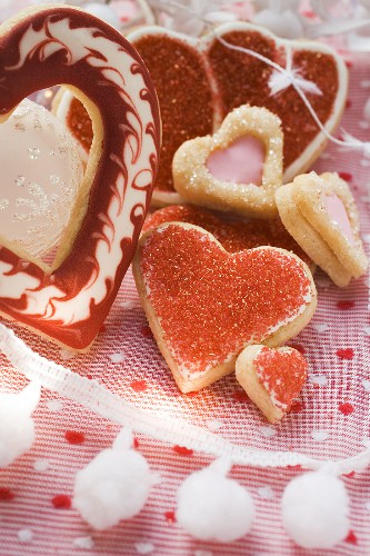 An assortment of heart-shaped biscuits