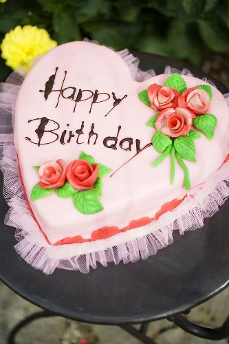 Enjoyable Pink Heart Shaped Birthday Cake On License Images 955683 Funny Birthday Cards Online Fluifree Goldxyz