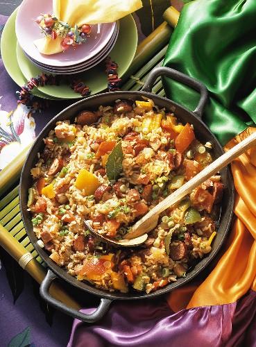 Caribbean Jambalaya with Sausage and Fruit