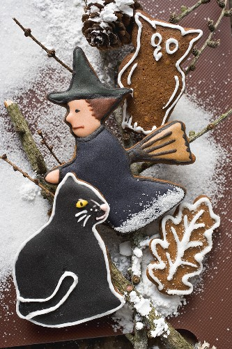Gingerbread witch,  owl and black cat