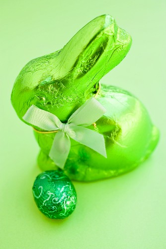 Green Easter Bunny and chocolate egg