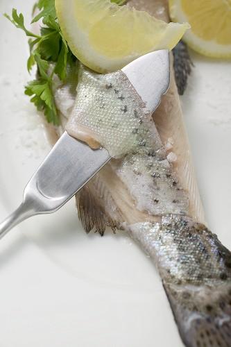 Haut von Forelle mit Fischmesser abheben