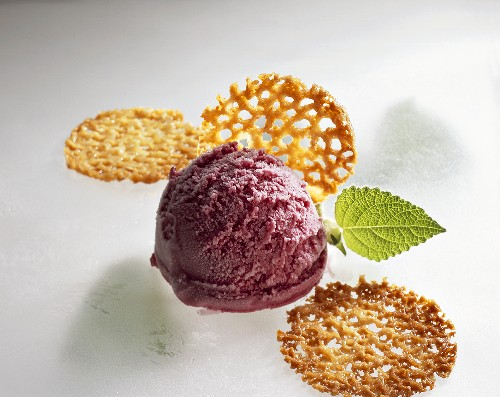 Elderberry quark ice cream and almond brittle