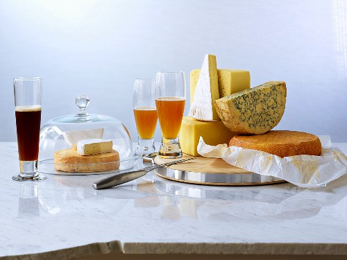 Various sort cheeses with beer