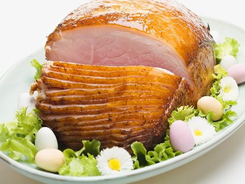 Glazed roast ham for Easter