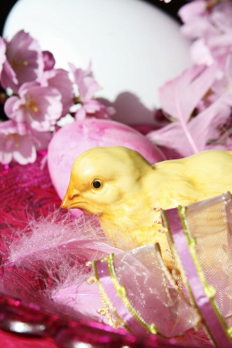 Easter still life with porcelain chick