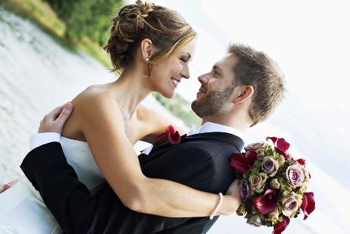 Newlyweds at the lake