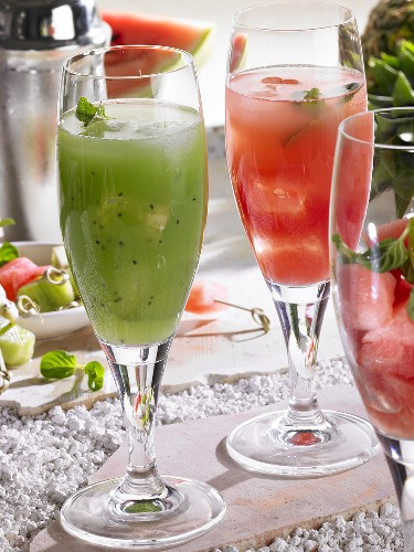 Kiwidrink und Wassermelonendrink (alkoholfrei)