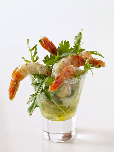 Shrimp in a Glass with Butter and Arugula